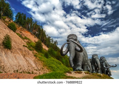 June 7, 2016: Sculptures of mammoths in Khanty-Mansiysk in summer, Siberia (Russia)