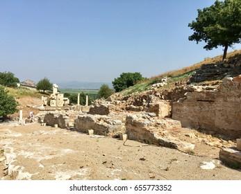 June 7, 2017 - ancient ruins in Ephesus, Izmir, Turkey, excavations of the old Greek city