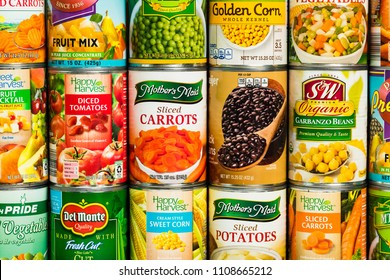 June 7. 2018. Detroit, Michigan, USA. Different Varieties and Brand Canned Vegetables Food Products.