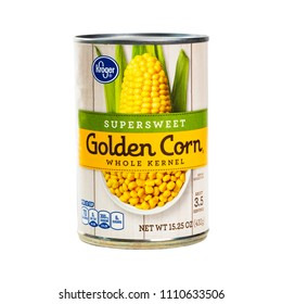 June 7. 2018. Detroit, Michigan, USA. Kroger Supersweet Golden Corn Whole Kernel Canned Isolated on white. Selective focus.