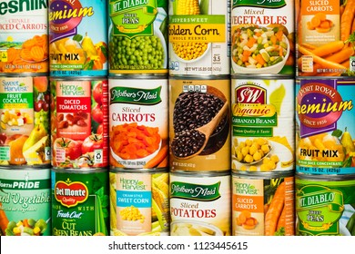 June 7. 2018. Detroit, Michigan, USA. Different Varieties and Brand Canned Vegetables Food Products Background