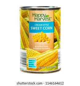 June 7. 2018. Detroit, Michigan, USA. ALDI Brand Happy Harvest Cream Style Corn Isolated on white. Selective focus.