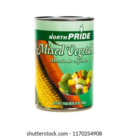 June 7. 2018. Detroit, Michigan, USA. Canned Mixed Vegetables North Pride Isolated on white. Selective focus.