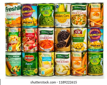 June 7. 2018. Detroit, Michigan, USA. Different Varieties and Brand Canned Vegetables Food Products Background.