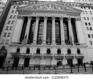 JUNE 7, 2018 - New York, New York, USA - New York Stock Exchange Exerior with US Flags