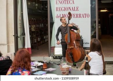 JUNE 8, 2018 - CASALE MONFERRATO, ITALY: musician Federico Marchesano plays live in the Castle court of Casale Monferrato