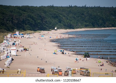 June 8, 2018 - Warnemunde, Germany: Drone view of beautiful beach in Warnemunde, Germany on Baltic Sea beach huts and bathers