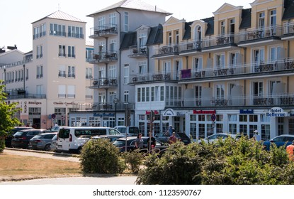 June 8, 2018 - Warnemunde, Germany: Street lined with shops, hotels and cafes in Warnemunde Germany on this date.
