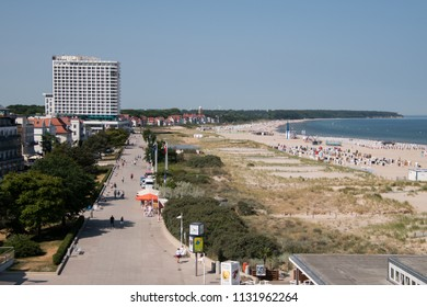 June 8, 2018 - Warnemunde, Germany: Drone view of the beach and boardwalk of the German Resort town of Warnemunde, on this date.