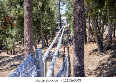 June 9, 2018 Mt Wilson / CA / USA - Light Pipes (Vacuum tubes) going to the Central Facility, part of the CHARA Array, Mt Wilson Observatory complex, San Gabriel mountains, Los Angeles county