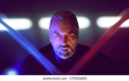 JUNE 9 2020: Scene from Star Wars Revenge of the Sith with Count Dooku/Darth Tyranus about to be executed by Anakan Skywalker with 2 lightsabers  - Hasbro action figures