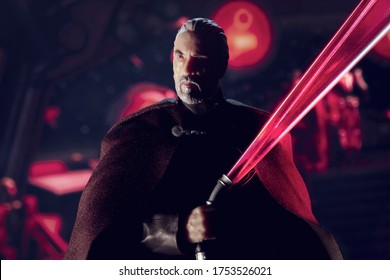 JUNE 9 2020: Scene from Star Wars Revenge of the Sith with Count Dooku/Darth Tyranus with lightsaber     - Hasbro action figures