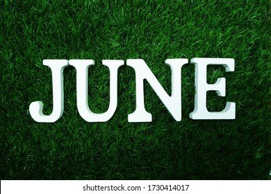June alphabet letters flat lay on green grass background