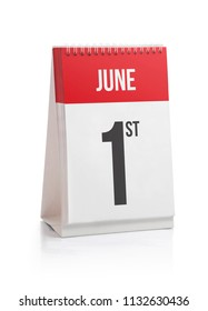 June Month Days Calendar, First Day Isolated on White