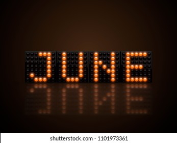 June text on yellow led display 3D render