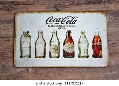 June,2018 : Coca-Cola Zinc plate very vintage at Bangkok,Thailand