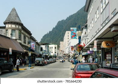 Juneau, Alaska - August 14, 2005: Streets of downtown Juneau in the summer with shops open to tourists. Juneau is the capital city of Alaska.
