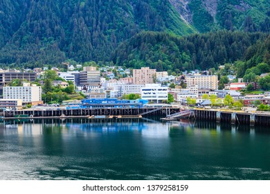 JUNEAU, ALASKA- May 31, 2016:  The City of Juneau is the capital city of Alaska. Juneau's population can increase by roughly 6,000 people from cruise ships between the months of May and September.