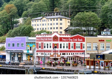 Juneau, Alaska - September 27 2017: Stores and other buildings in downtown Juneau on a rainy day
