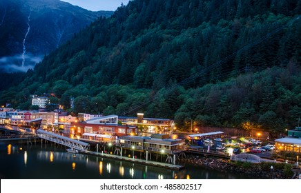 JUNEAU, ALASKA - SEPTEMBER 9, 2016: The port of the capital city at dusk.