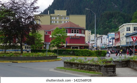 Juneau, Alaska, United States, May, 28, 2019: Lively streets of Juneau, Alaska, United States