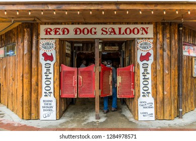 Juneau, Alaska / USA - 06/27/2015 The famous Red Dog Saloon in Juneau