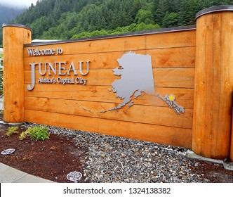 Juneau, Alaska, USA - July 2, 2013: Welcome sign to Juneau, Alaska's capital and second largest city on the panhandle. It uniquely can only be accessed by boat or plane, not car.