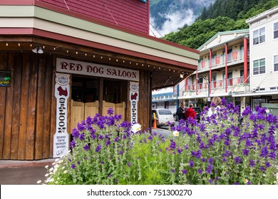 Juneau, Alaska, USA - July 28th, 2017: The Red Dog Saloon at a corner of Franklin St at the downtown of Juneau, Alaska.