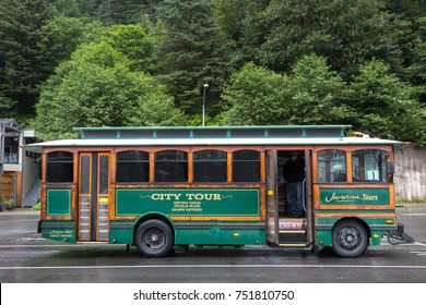 Juneau, Alaska, USA - July 28th, 2017: A retro glacier shuttle bus parked at the Cruise Dock Terminal in Juneau, Alaska.