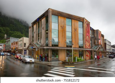 Juneau, Alaska, USA - July 28th, 2017: The Sealaska Heritage Store located in the downtown of Juneau.