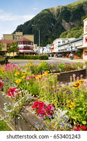 JUNEAU, ALASKA/UNITED STATES: AUGUST 5: Tourists walk the street in downtown towards the end of the summer season on 08/05/2015 in Juneau, AK.