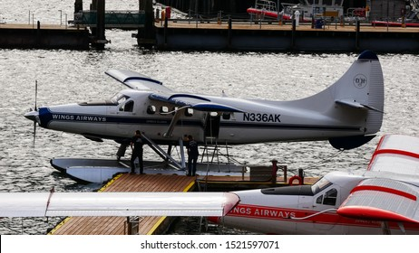 Juneau, Alaska/USA - May 15, 2019 - Seaplane getting ready to take off in   a harbor in Juneau