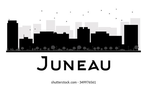 Juneau City skyline black and white silhouette. Simple flat concept for tourism presentation, banner, placard or web site. Business travel concept. Cityscape with famous landmarks