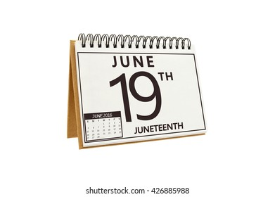 Juneteenth (African American Holiday Celebrating Freedom) 19 June 2016 Calendar isolated on white background