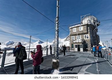 Jung Frau Joch, Switzerland-May 7, 2019: Top of Europe, Observatory of Jungfraujoch mountain
