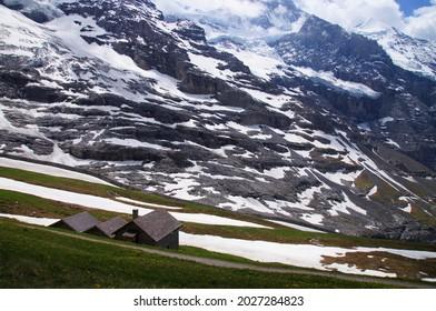 Jung Frau mountain with snow in summer seen from near Kleine Scheidegg, Switzerland                        - Shutterstock ID 2027284823