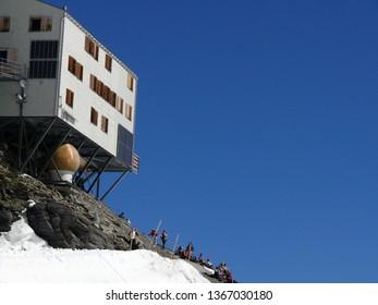 Jungfrau, Switzerland. 08/06/2009. High mountain refuge of the jungfraujoch. On the Jungfraujoch there is a high mountain refuge and the Sphinx astronomical observatory at 3466 meters high.