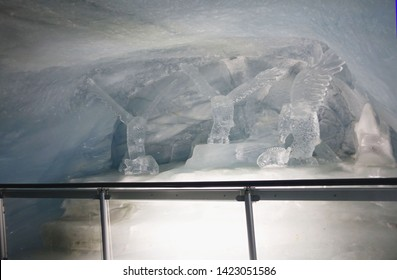 Jungfrau Switzerland -16 May 2019:Jungfrau Ice Palace in Switzerland, Eis background,