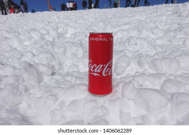 Jungfrau Switzerland- 16May 2019: Coca-cola on snow background at  Jungfrau mountain in Switzerland,