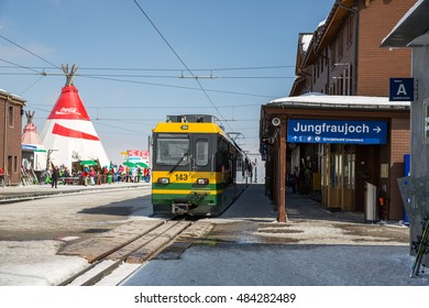 Jungfrau, Switzerland - March 20, 2016: View of local trains to Kleine Scheidegg and Jungfrau in Switzerland.