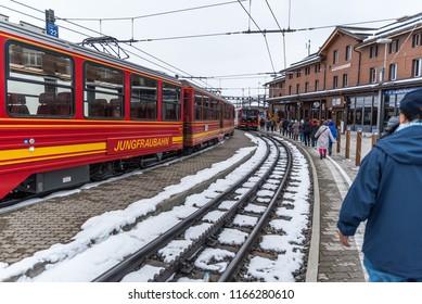 Jungfrau, Switzerland - May 02, 2018 : Tourists take a train to transit to the top of Jungfrau mountain.