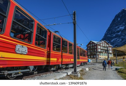 Jungfrau, Switzerland - Oct 20, 2018. Scenic train on Alpine peaks of Grindelwald and Jungfrau (Switzerland).