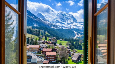 Jungfrau through the Window / Wengen in Switzerland