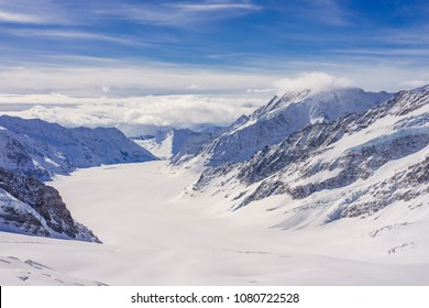 Jungfraujoch - Aletsch Glacier/Fletsch Glacier. Panorama view of the Alps mountains from the view of Jungfraujoch station, Switzerland.