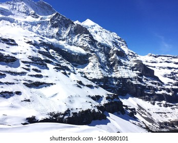 Jungfraujoch slopes and snow capped mountains