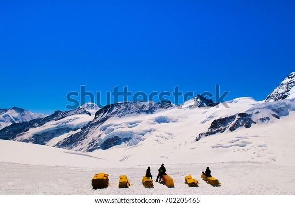 Jungfraujoch, Swiss Alps Snow Mountain.