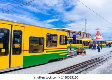 JUNGFRAUJOCH, SWITZERLAND - APRIL 16, 2018: Jungfrau Railways at Kleine Scheidegg station near Jungfraujoch.