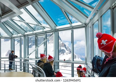 Jungfraujoch, Switzerland - July 11, 2015:  Young people in the Sphinx observatory