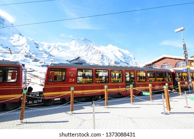 Jungfraujoch, Switzerland - May 21, 2016 : Jungfrau Railways at Kleine Scheidegg station near Jungfraujoch.