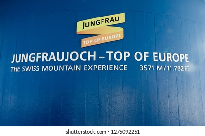 Jungfraujoch, Switzerland - Oct 20, 2018. Backdrop of Jungfraujoch - Top of Europe. The Jungfrau at 4,158m is one of the main summits of the Bernese Alps.